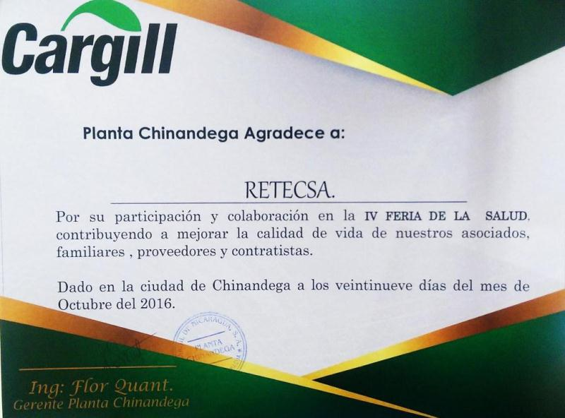 CARGILL Certificate of Recognition